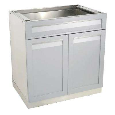 Stainless Steel Drawer Plus 32x35x22.5 in. Outdoor Kitchen Cabinet Base with 2 Powder Coated Doors and Drawers in Gray