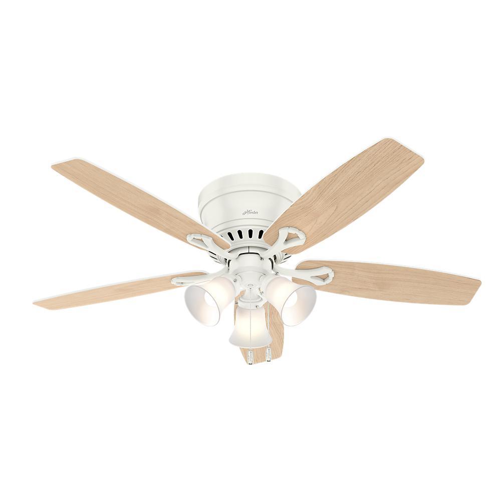 Hunter Oakhurst II 52 in. Low Profile LED Indoor Fresh White Ceiling Fan with Light Kit