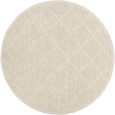 Central Park Abbey Ivory 9 ft. 9 in. x 9 ft. 9 in. Round Indoor Area Rug