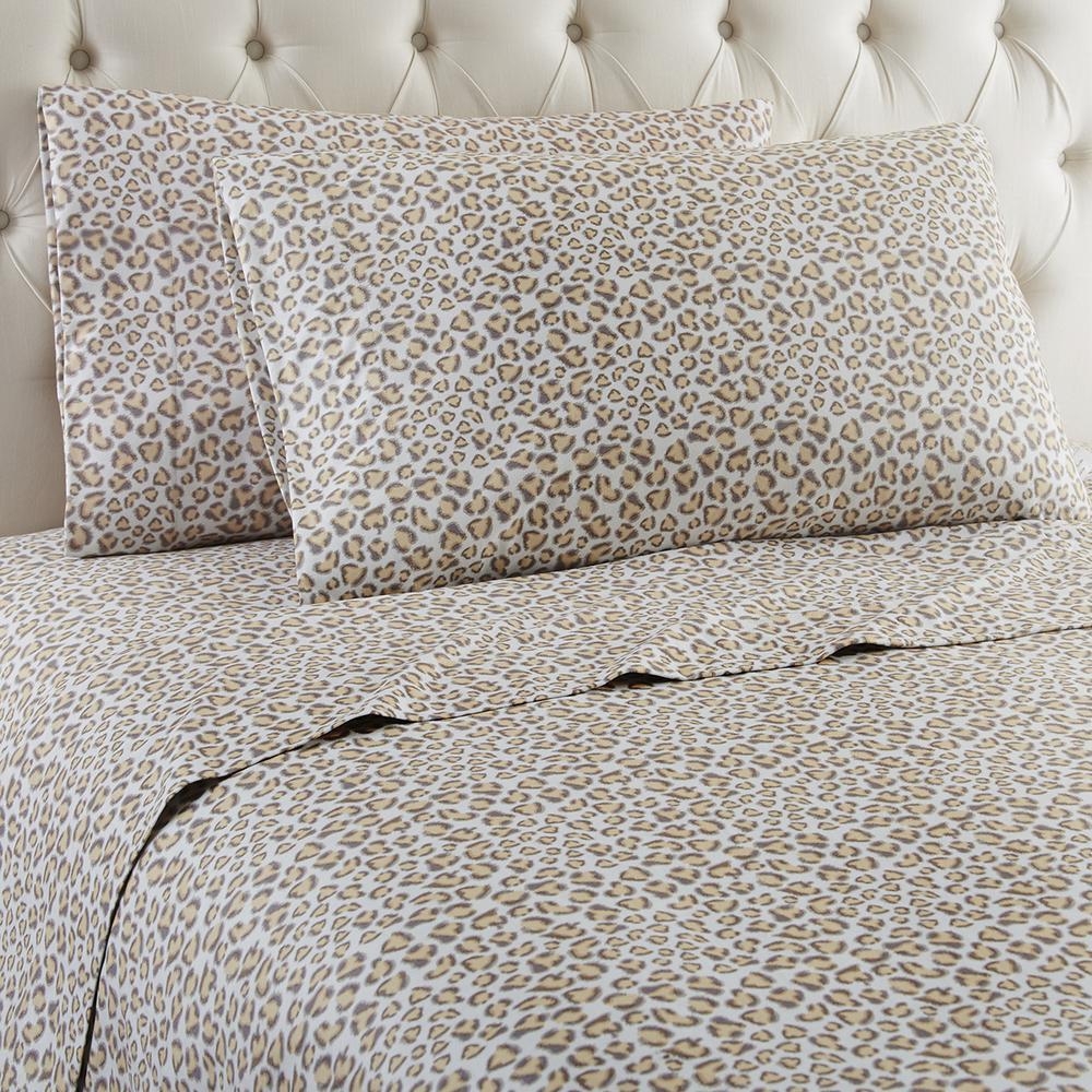 4-Piece Leopard California King Polyester Sheet Set