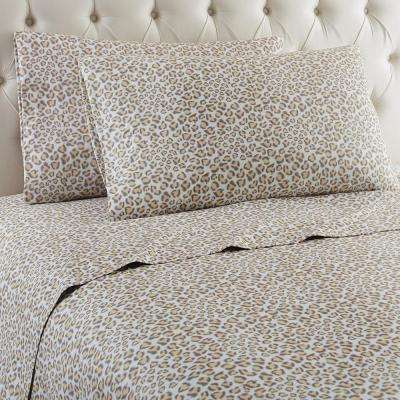 4-Piece Leopard King Polyester Sheet Set