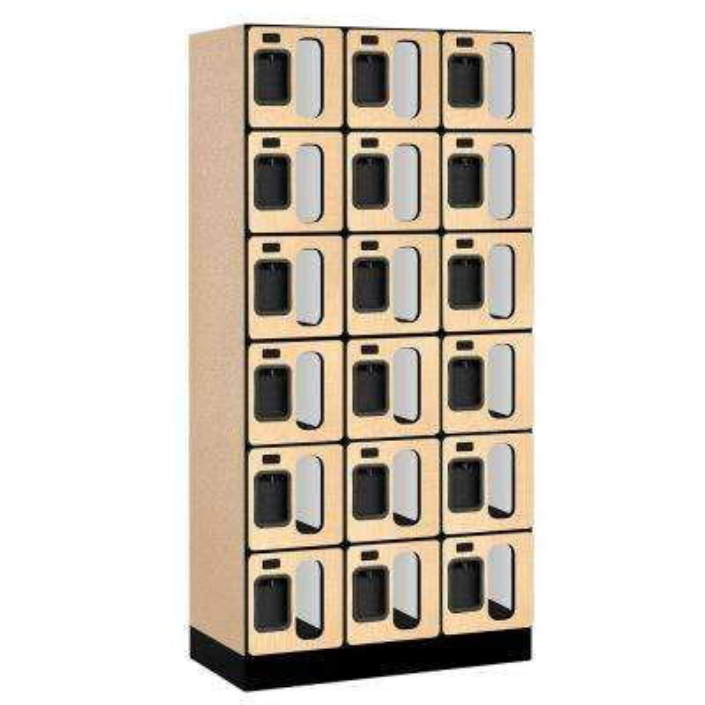 S-36000 Series 36 in. W x 76 in. H x 18 in. D 6-Tier Box Style See-Through Designer Wood Locker in Maple