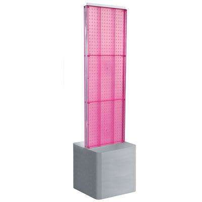 60 in. H x 16 in. W 2-Sided Pegboard Floor Display on Adjustable Studio Base in Pink