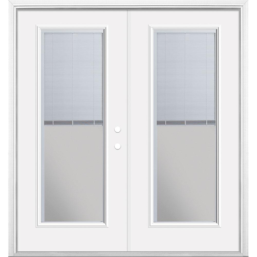 72 in. x 80 in. Primed Prehung Left-Hand Inswing Mini Blind Steel Patio Door with Brick Mold