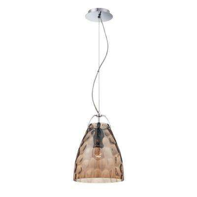Amero Collection 1-Light Chrome and Amber Pendant
