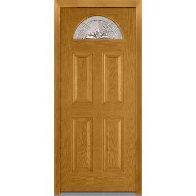 36 in. x 80 in. Heirloom Master Right-Hand 1/4-Lite Decorative 4-Panel Classic Stained Fiberglass Oak Prehung Front Door