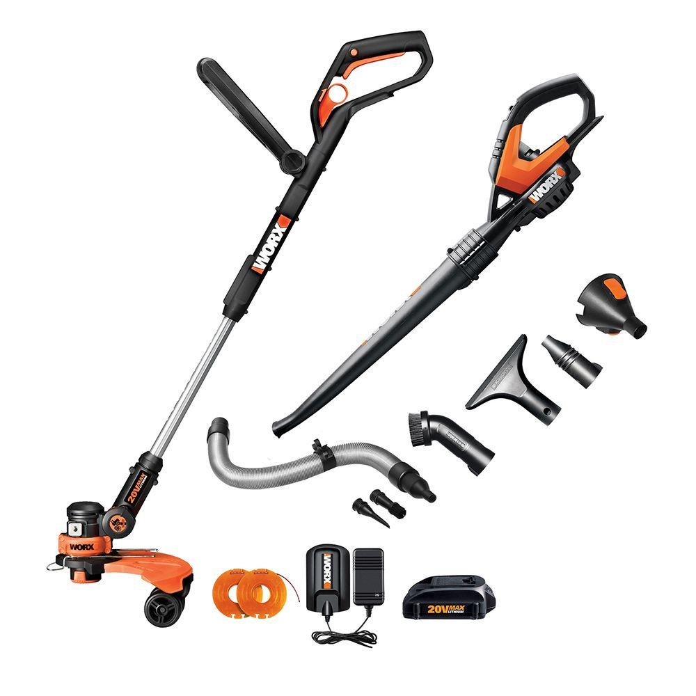 Worx 20Volt LithiumIon Cordless String TrimmerBlower Combo Kit