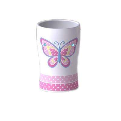 Butterfly Dots Collection 4 in. Tumbler in White with Pink Multicolor Details