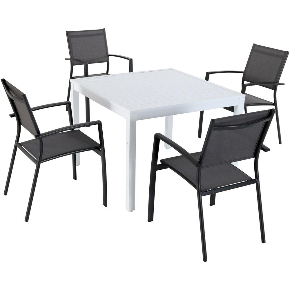 Beau Cambridge Palmero 5 Piece Aluminum Outdoor Dining Set With 4 Sling Arm  Chairs And