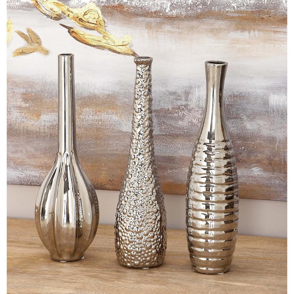 Ceramic Bottle-Shaped Decorative Vases in Silver (Set of 3)