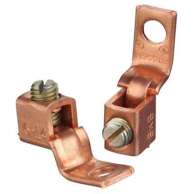 Copper Mechanical Connector #6 Stranded to 14 AWG with Single Hole Mount (10 Pieces)