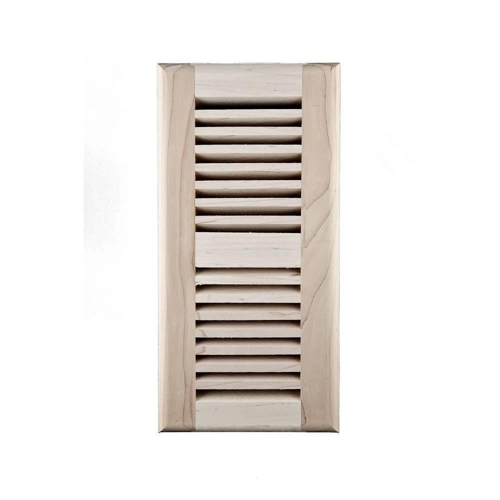 Image Wood Vents 4 x 14 Am Maple Ready to Finish Self Rimming Register with Metal Damper-DISCONTINUED