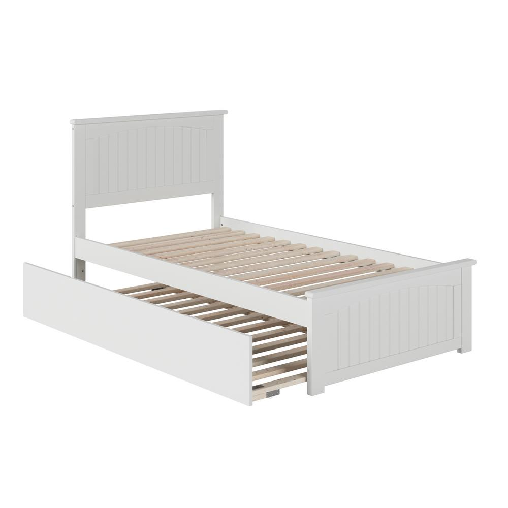 Nantucket White Twin Platform Bed with Matching Foot Board and Twin Size Urban Trundle Bed