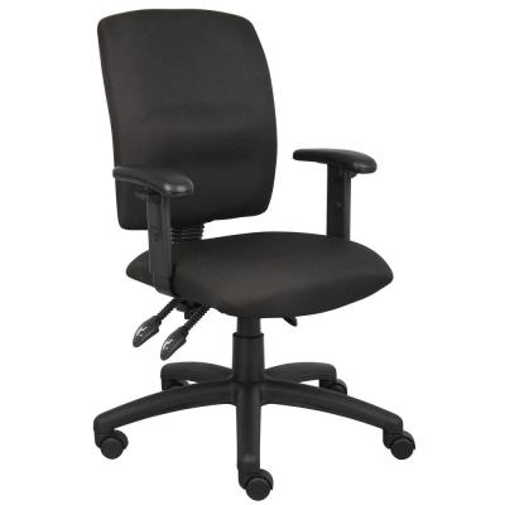Black Crept Fabric Adjustable Arms Ergonomic Multi-Function Desk Chair