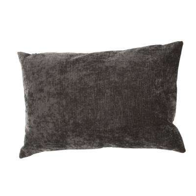 Luxe Charcoal Gray Poly Decorative Pillow