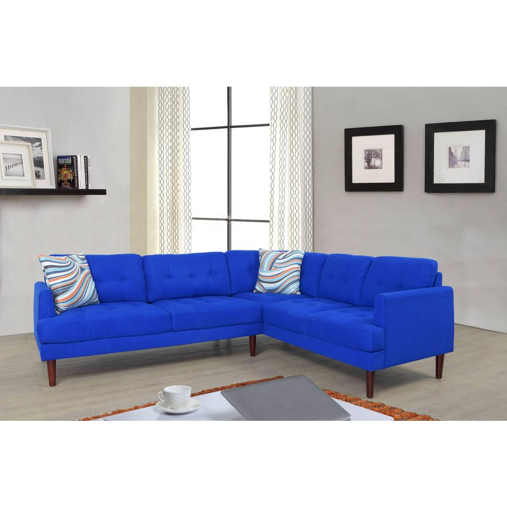 Blue tufted right sectional sofa set 2 piece sh5005a the home depot