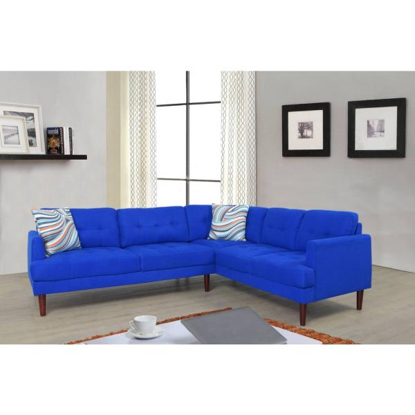 Undefined Blue Tufted Right Sectional Sofa Set 2 Piece