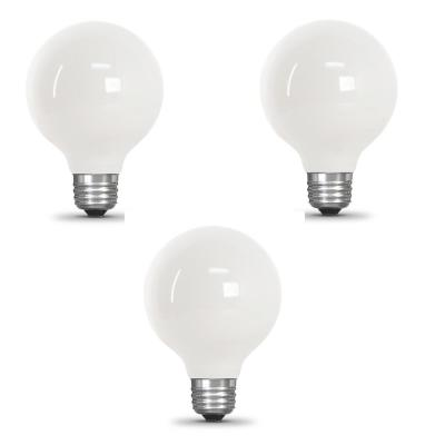 60-Watt Equivalent G25 Dimmable Filament ENERGY STAR White Glass LED Light Bulb, Soft White (3-Pack)