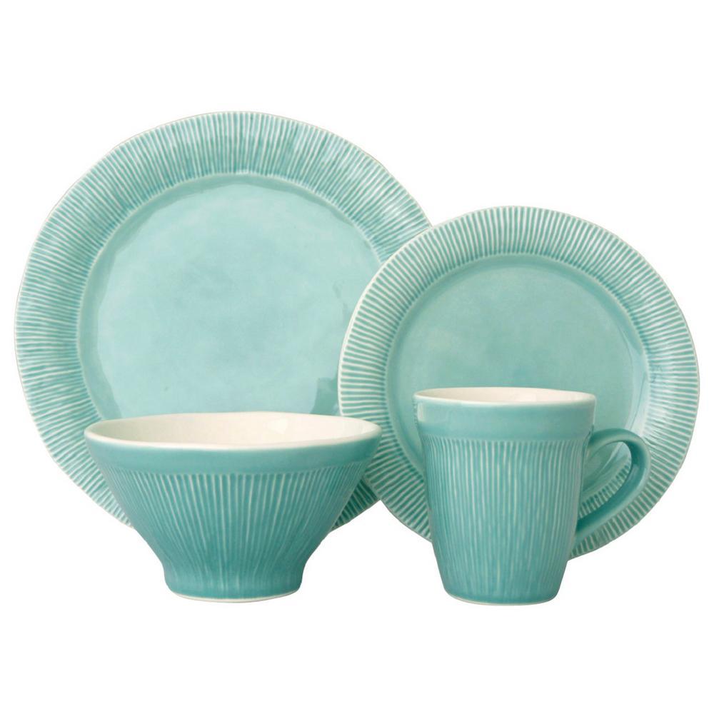 Sango Chromatic 16-Piece Aqua Dinnerware Set-3591AQ800ACM14 - The ...