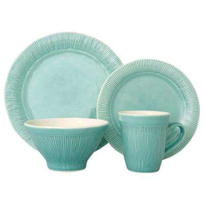 Chromatic 16-Piece Aqua Dinnerware Set