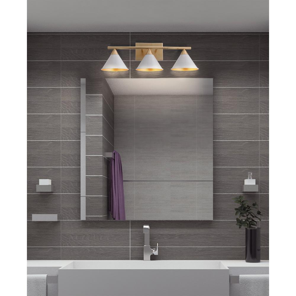 Yvette 25 in. 3-Light White/Gold Metal Vanity Wall Light