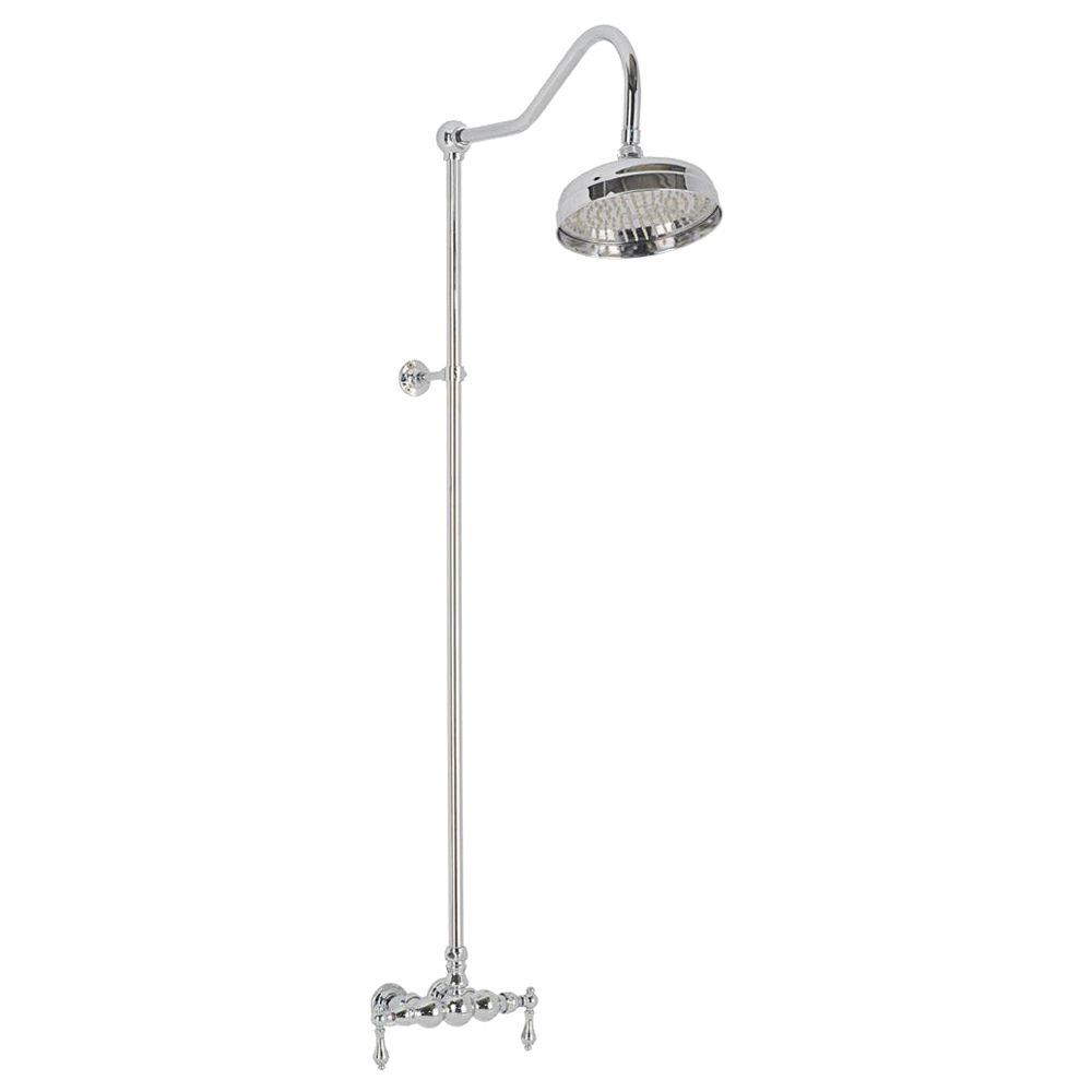 Elizabethan Classics 2-Handle 1-Spray Wall-Mount Exposed Tub and Shower Faucet with Metal Lever Handles in Chrome