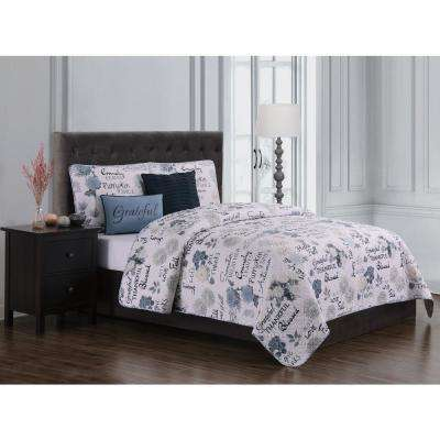 Mazedaze Blue Ivory Queen Quilt Set (5-piece)