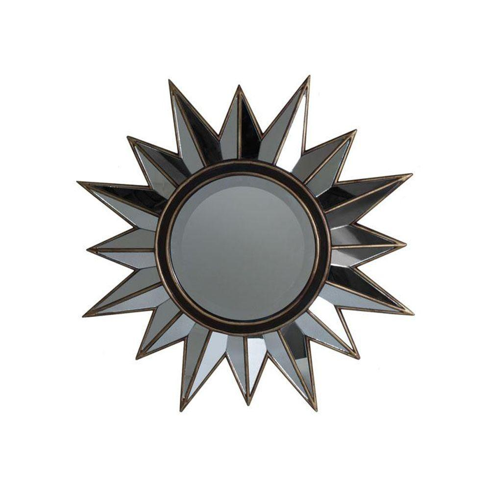 Home Decorators Collection 27.75 in. H x 27.75 in. W Sunburst Brown And Gold Framed Mirror