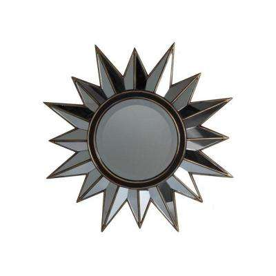27.75 in. H x 27.75 in. W Sunburst Brown And Gold Framed Mirror