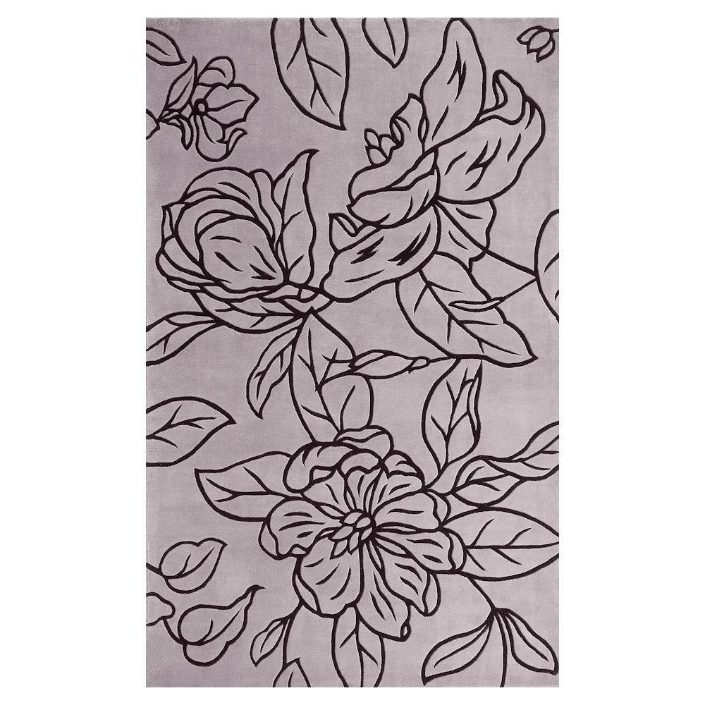 Kas Rugs Grey Line Floral Grey 3 ft. 3 in. x 5 ft. 3 in. Area Rug