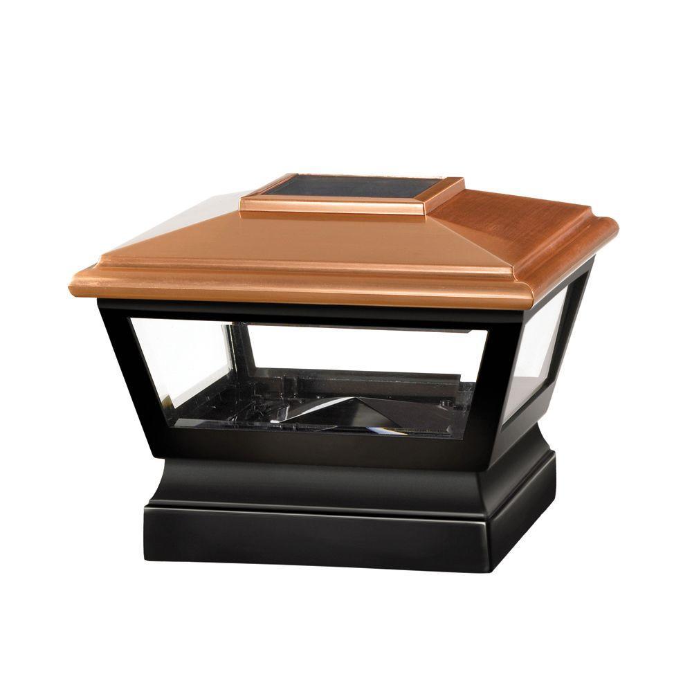 Veranda 5 in. x 5 in. Vinyl Solar Light Copper Top Post Cap with Black Base