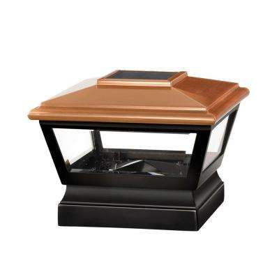5 in. x 5 in. Vinyl Solar Light Copper Top Post Cap with Black Base