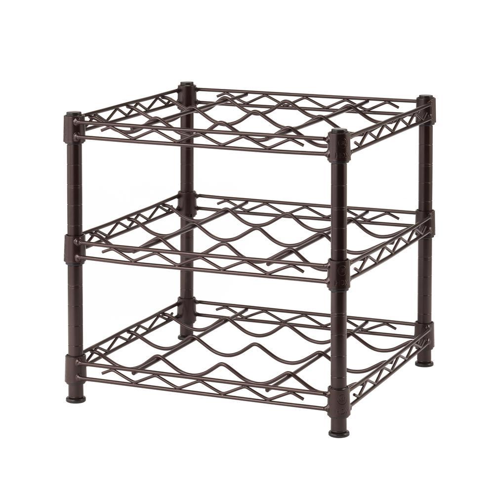 HDX 3-Shelf Countertop Wire Wine Rack in Antique Bronze by HDX