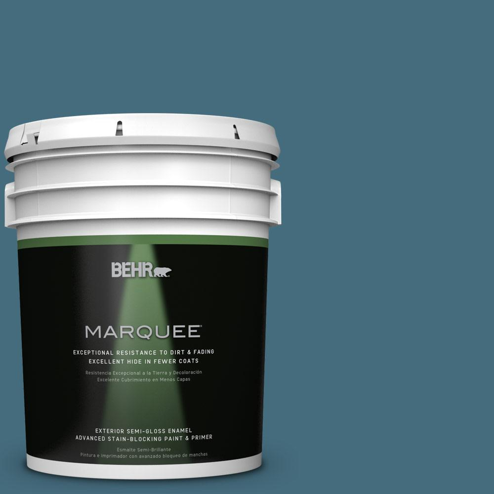 BEHR MARQUEE 5-gal. #S480-6 Poseidon Semi-Gloss Enamel Exterior Paint