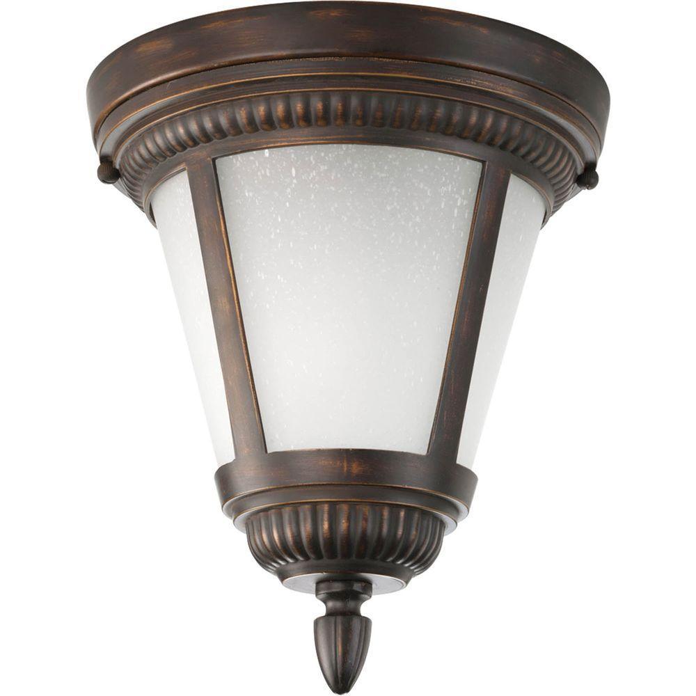 Progress Lighting Westport Collection 1-Light Antique Bronze Outdoor Flushmount
