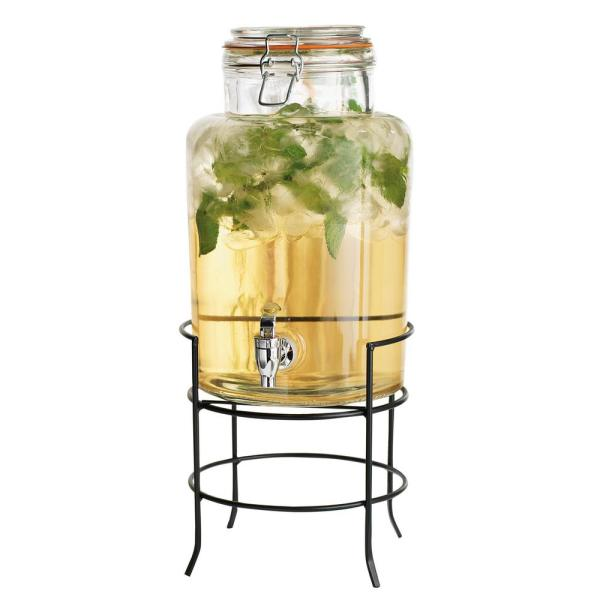1.5 Gal. Glass Drink Dispenser on Stand 6478