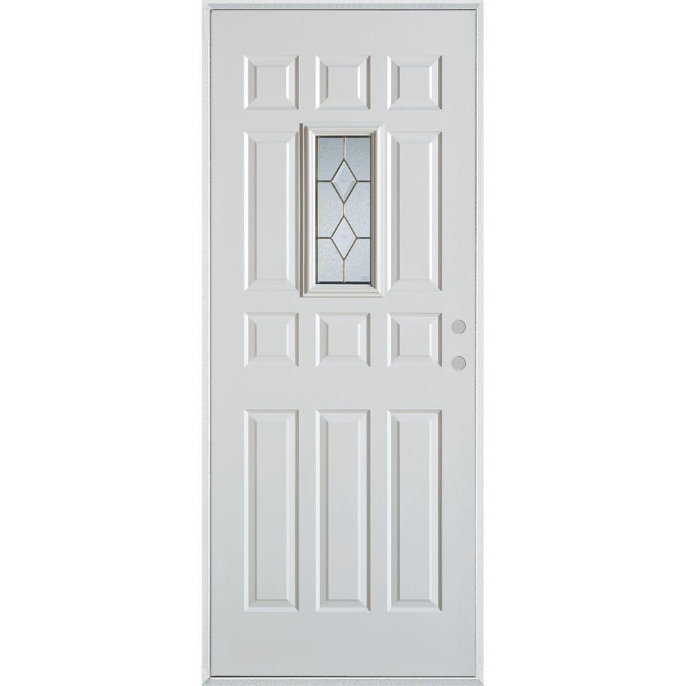 32 in. x 80 in. Geometric Patina Rectangular 1 Lite 12-Panel Painted Left-Hand Inswing Steel Prehung Front Door