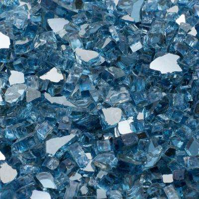 1/4 in. 10 lb. Sky Blue Reflective Tempered Fire Glass
