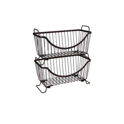 Ashley 12.625 in. W x 6.375 in. D x 7.625 in. H Small Stacking Basket in Bronze