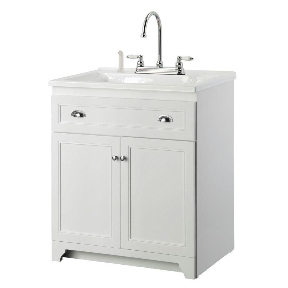 Laundry Vanity In White And Premium Acrylic Sink Faucet Kit