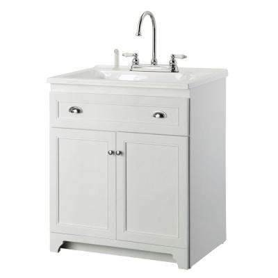 Keats 30 in. Laundry Vanity in White and Premium Acrylic Sink in White and Faucet Kit