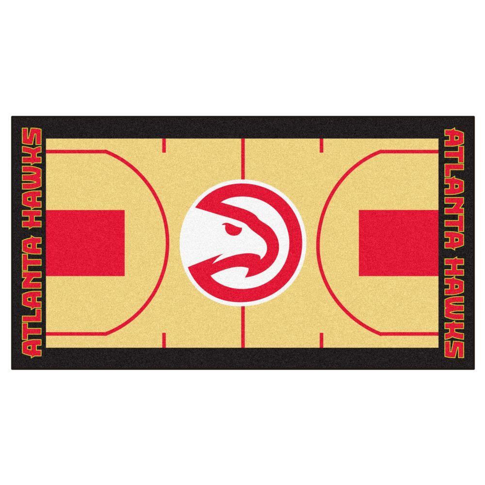 FANMATS NBA - Atlanta Hawks Tan 2 ft. x 3 ft. 8 in. Indoor Basketball Court Runner
