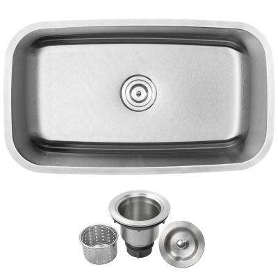 Haven Undermount 16-Gauge Stainless Steel 31.5 in. Single Basin Kitchen Sink with Basket Strainer