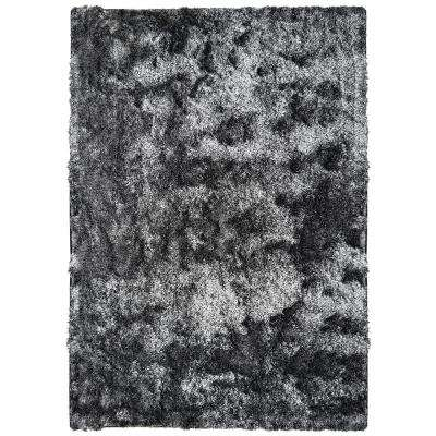 So Silky Salt and Pepper Polyester 4 ft. x 6 ft. Area Rug