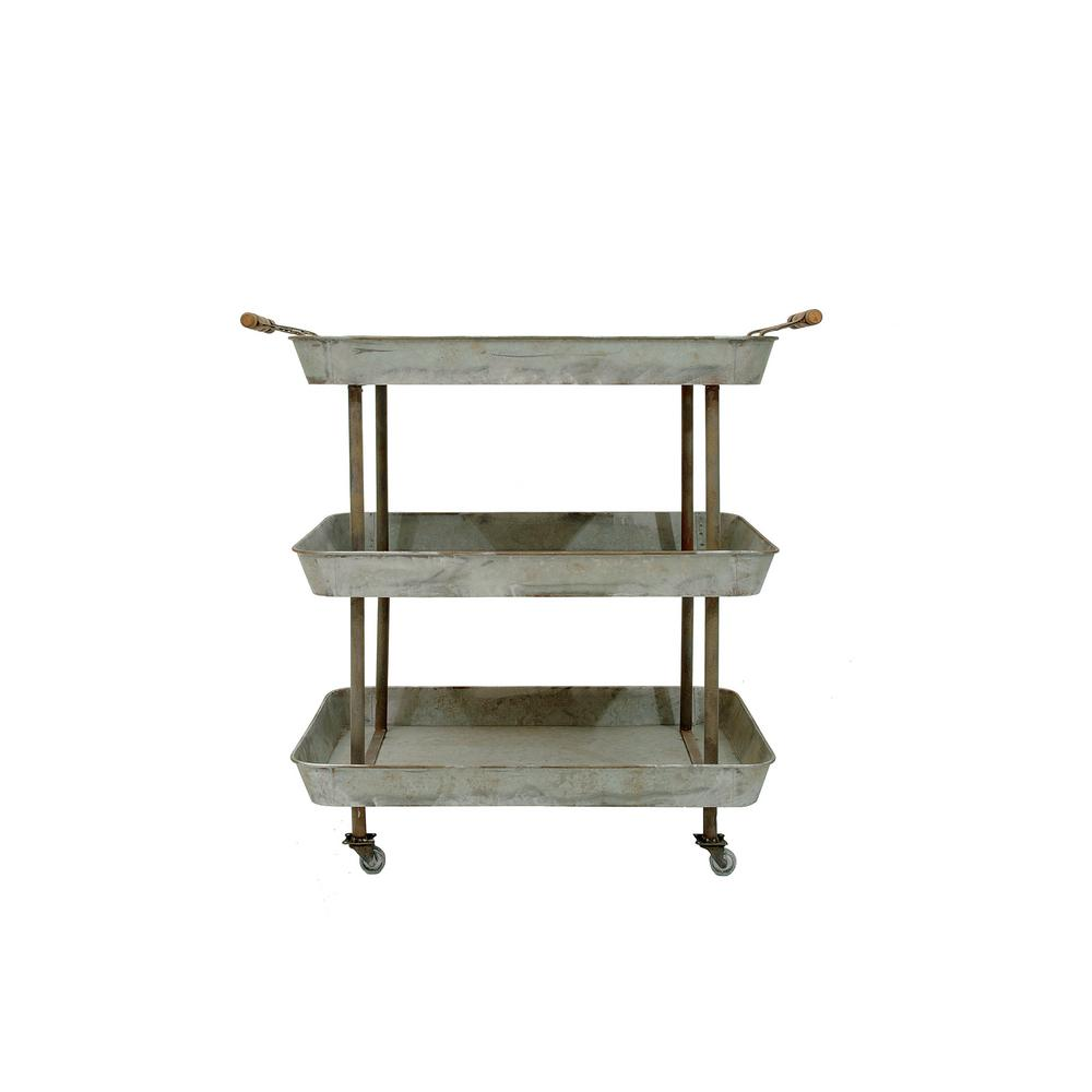 3 tier cart with wheels organizing 3r studios 2634 in 31 galvanized metal tier cart on