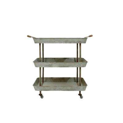 26-3/4 in. x 31 in. Galvanized Metal 3 Tier Cart on Casters