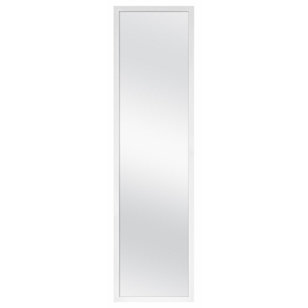 Vanity Door Mirror White Plastic Frame Full Length Optimal Viewing 13 In X 49