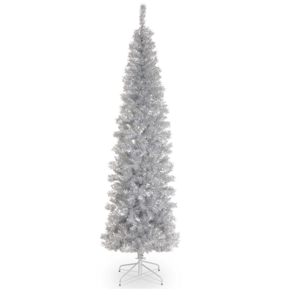 Tinsel Christmas Tree: National Tree Company 7 Ft. Silver Tinsel Artificial