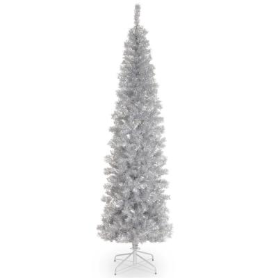 7 ft. Silver Tinsel Artificial Christmas Tree