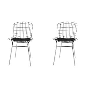 Madeline Silver and Black Chair (Set of 2)